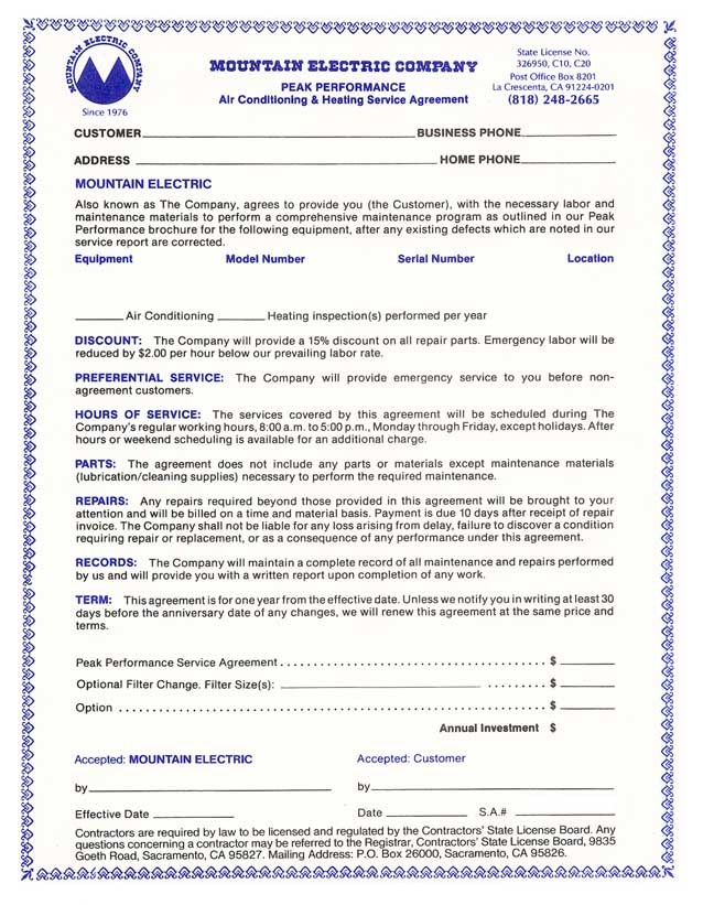 Service Agreement Terms Of Service Agreement Template Sample